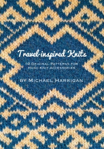 Fair Isle knitting in blue and yellow with book title overlay in computer set font
